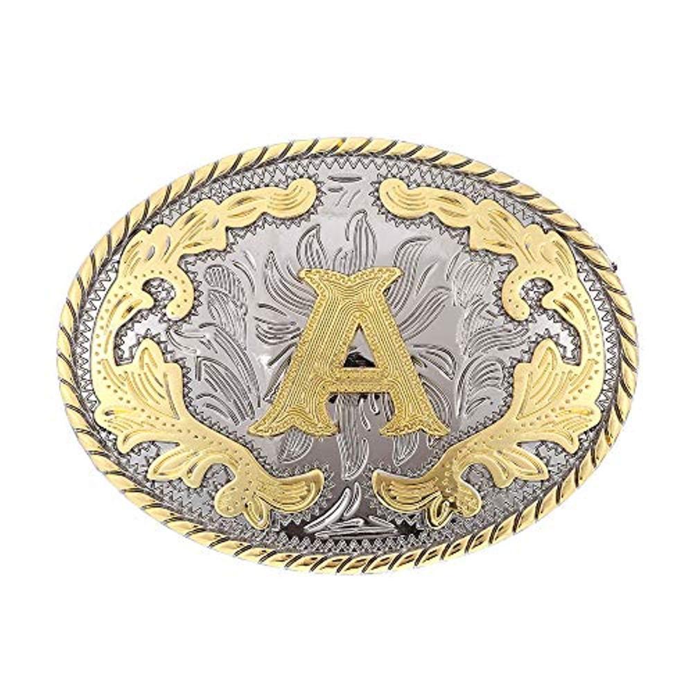 Oval Shape  Letter ABCD-Z Western Cowboy Belt Buckle For Man Custom Width 4cm Zinc Alloy Belt Buckle