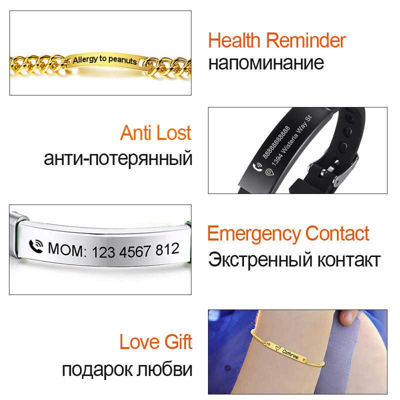 Vnox長さ調節可能子供バビidブレスレット抗アレルギーステンレス鋼ガールボーイ子供アンチロストジュエリーカスタム名電話
