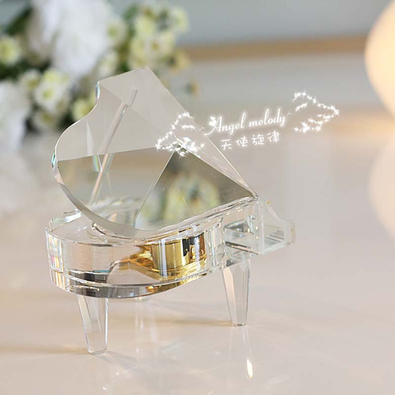 Piano music box artificial crystal polishing and casting technology music box pastoral crystal music box gift 3