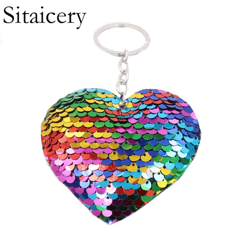 Sitaicery Chaveiro Heart Keychain Glitter Pompom Sequins Key Chain Gifts For Women Llaveros Mujer Car Bag Accessories Key Ring