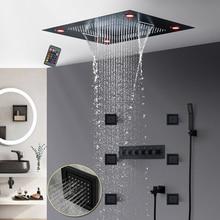 Матовый черный светодиодный встраиваемый потолочный смеситель для душа набор высокого потока массажа горячий и холодный Водопад осадков тела струи системы ванной комнаты