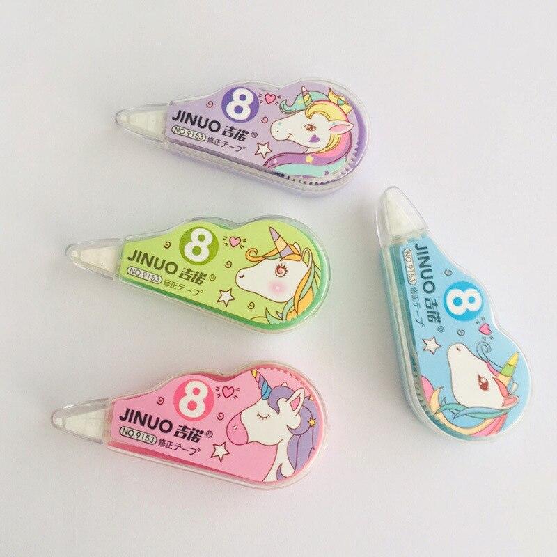 4 Pcs/pack Unicorn Correction Tape Cartoon Stationery Sticker Office School Supply Promotional Gift