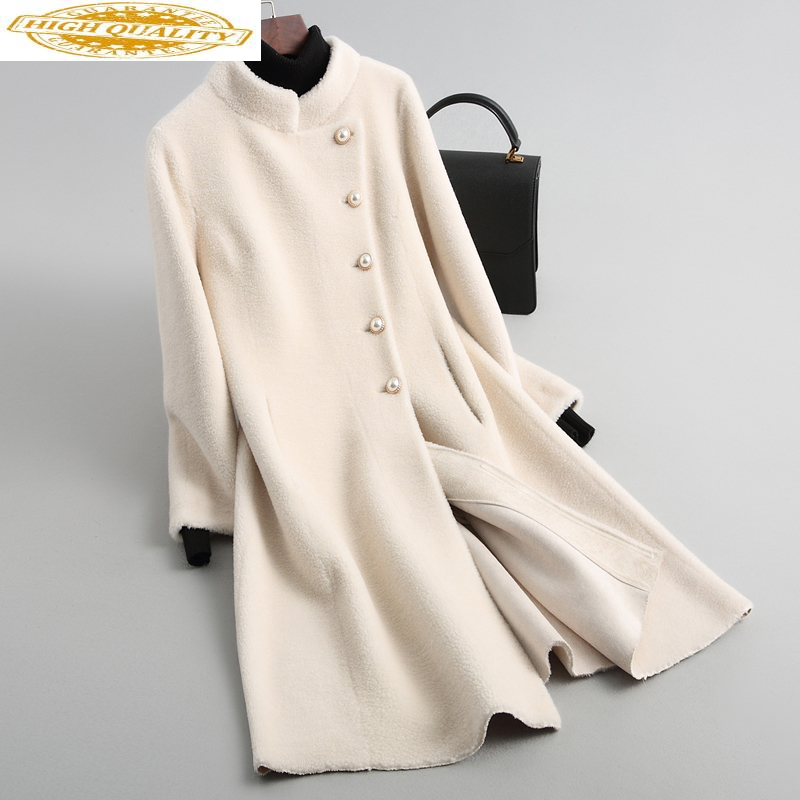 2020 Sheep Shearing Jackets Real Wool Fur Coat Female Stand Collar Long Winter Jacket Women Fur Coats Outerwear CN189C69