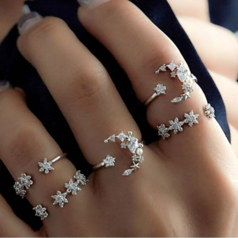 Knuckle Rings Flower Crystal Geometric Starry Boho Night-Shining Finger-Je Bohemian Vintage title=