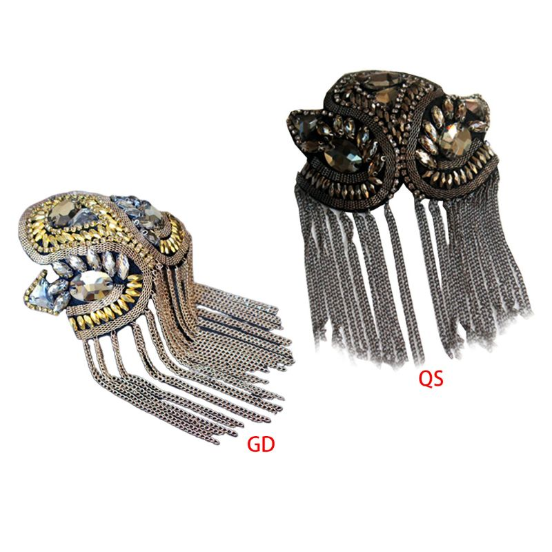 Handmade Shoulder Badge Rhinestone Beaded Metal Tassels Women Kids Epaulettes