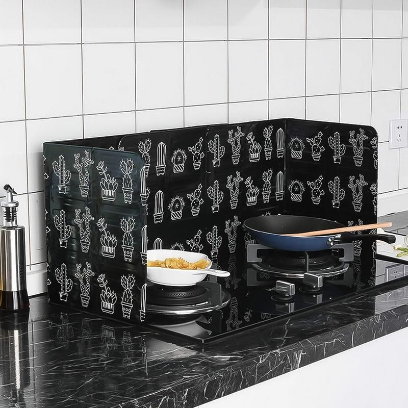 رقائق النفط يربك الألومنيوم كتلة الصبار المطبوعة النفط لوحة حاجز موقد الطبخ العزل الحراري مكافحة الرش المطبخ أداة