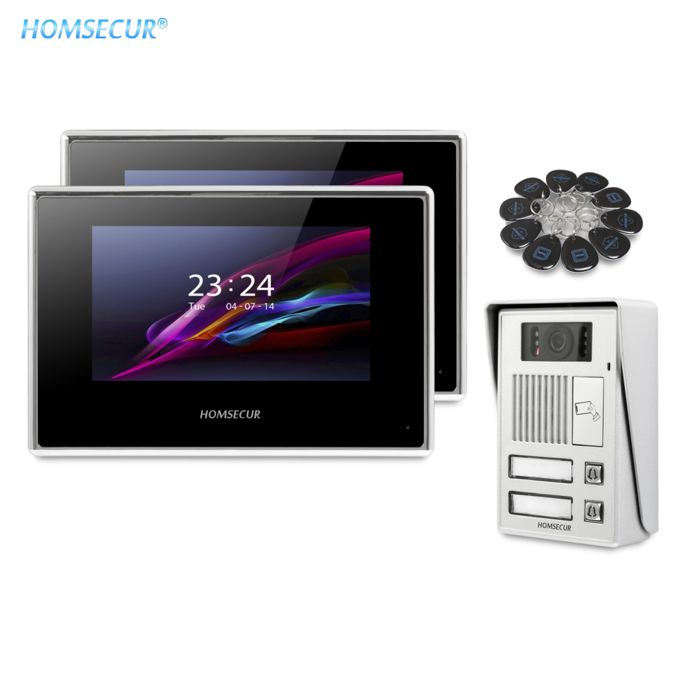 HOMSECUR 7inch Video Door Entry Security Intercom With Motion Detection For 2 Families BC112-2 + BM718-B