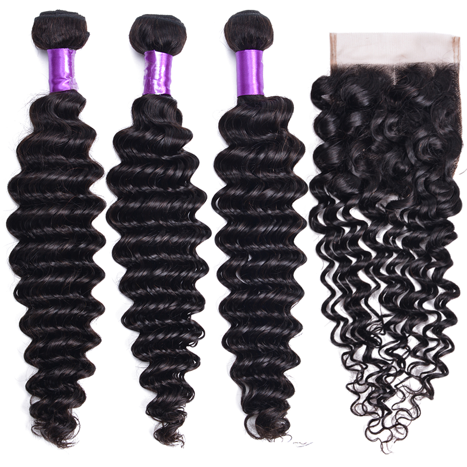 Deep Wave Hair Bundles With Closure Non-Remy Human Hair 3 Bundles With Closure Malaysian Hair Bundles With Closure