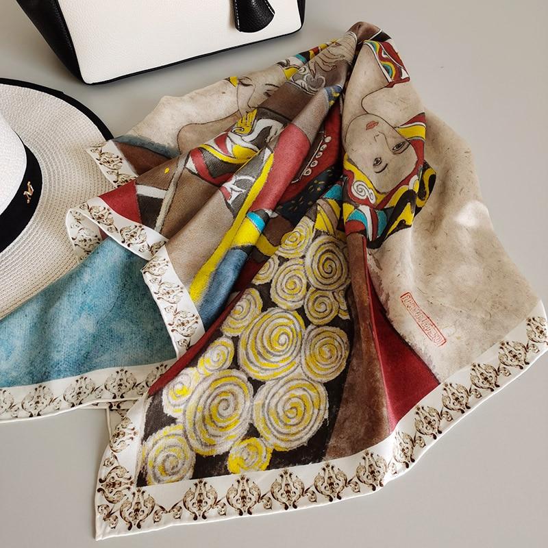 "Women's 100% Pure Silk 12mm Printed Big Square Scarf Wrap Kerchief 88cm 34.5"" WJ095"