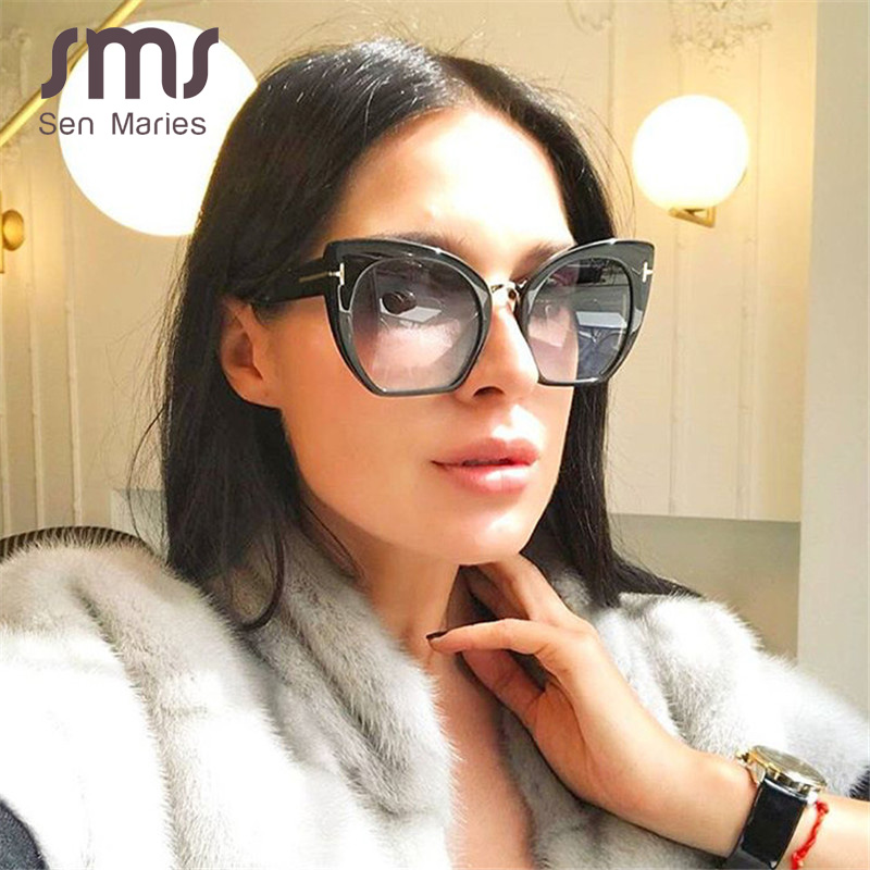 2019 Vintage Oversized Cat Eye Sunglasses Women Luxury Brand Black Shades Sexy Gradient Glasses Fashion Gold T Decoration UV400