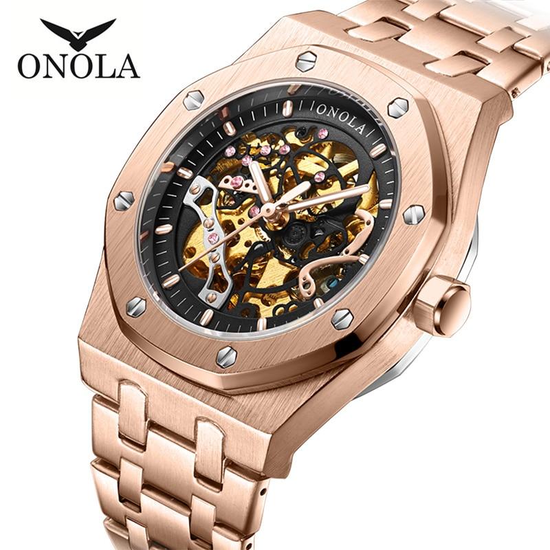 ONOLA top luxury brand Automatic mechanical men watch waterproof hollowed out dial clock fashion original Automatic watch man