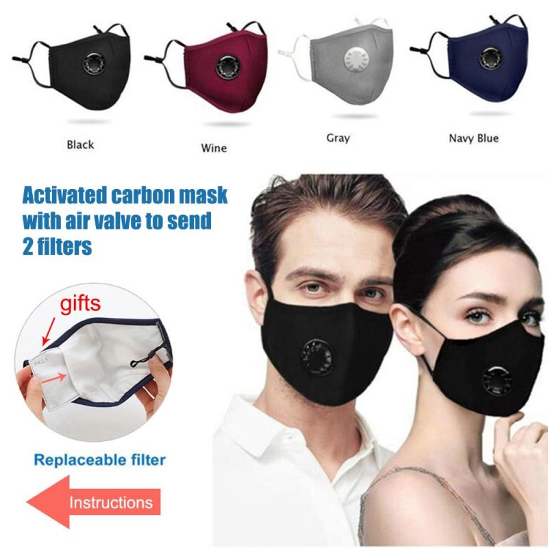Reusable   Activated Carbon Mask With Air Valve And Sun  Set With 2 Filters Hot Sale New Arrivals