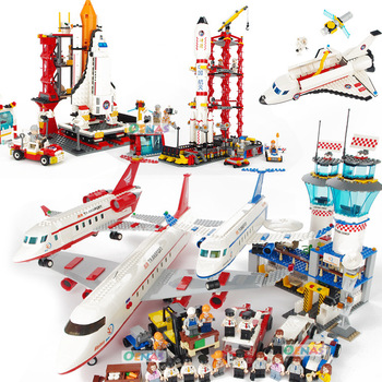 Airplane Figures Building Blocks Spaceport Space Shuttle City DIY Bricks Educational Classic Toys For Children Gift