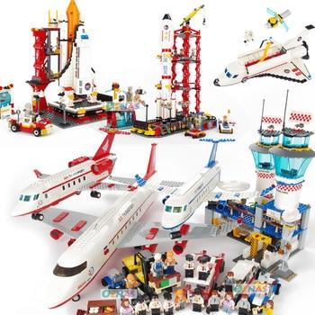 Airplane Figures Building Blocks Spaceport Space Shuttle Blocks City DIY Bricks Educational Classic Toys For Children Gift