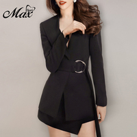Max Spri 2019 Autumn New V neck Long Sleeves Jacket Mini Skirt Two Piece Set Suit Fashion Office Lady Wearing With Sashes