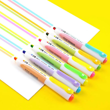 1PC Highlighter Pen 2 Color In 1 Fluorescent Markers Refillable Retractable Highlighters for Marking Highliting Drawing Doodling