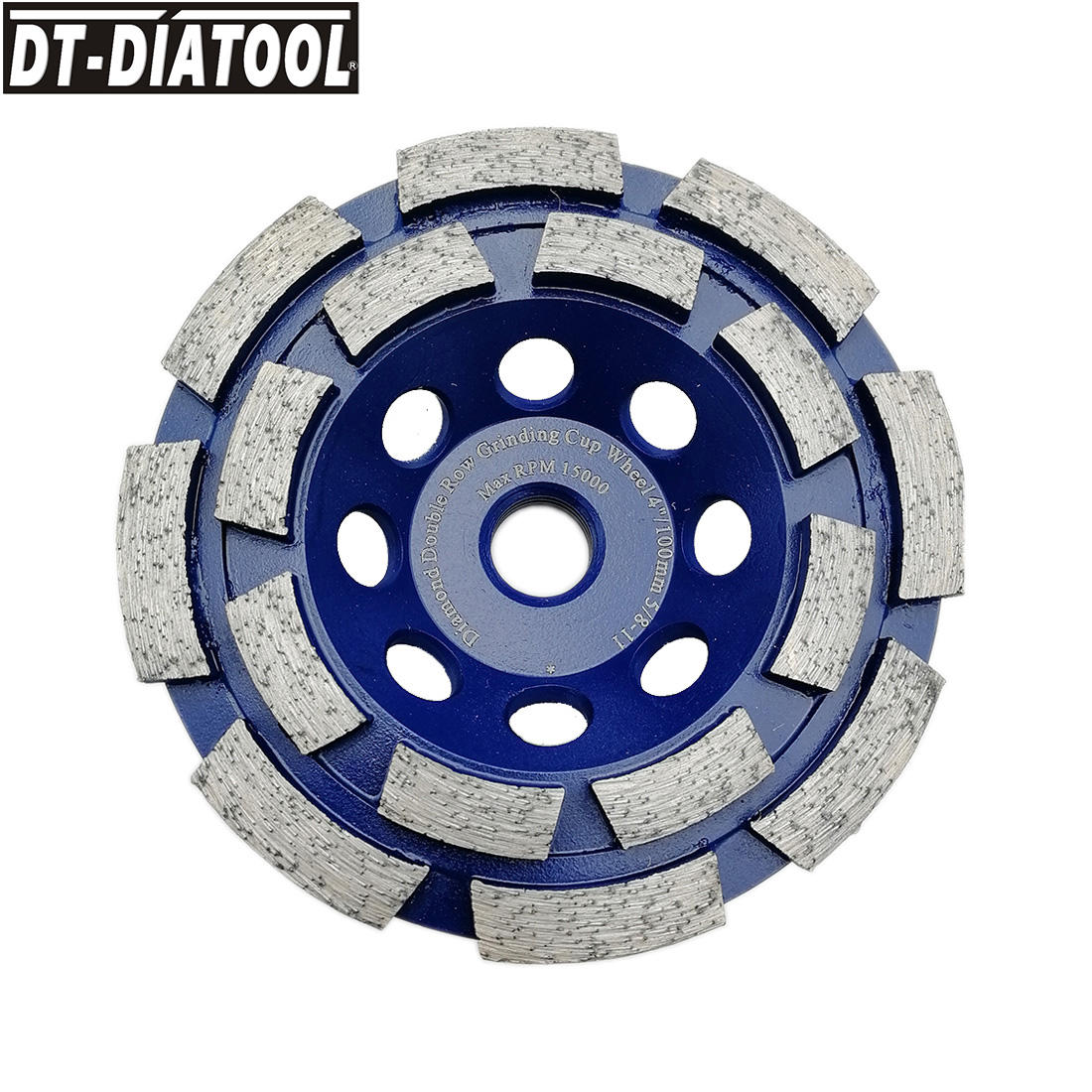 DT-DIATOOL 1pc 5/8-11 thread Dia 4inch/100mm Diamond Double Row Cup Grinding Wheel For Concrete Brick Hard Stone Granite Marble