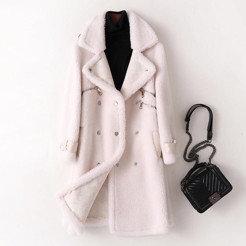 2020 Luxury Natural Sheep Shearing Coat Women Double Breasted Long Real Sheep Fur Jacket Wool Coat