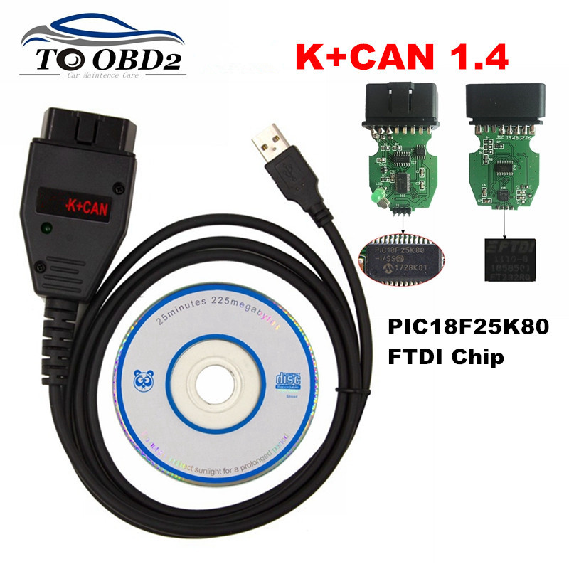 Professional For VAG K+CAN 1.4 Full Version Commander PIC18F25K80+FTDI FT232RQ Chip OBD Car Diagnostic For AUDI/VW/Skoda/Seat