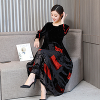 Women Plus size Dresses M 4XL New Autumn Winter Loose Fashion Print Woman Long Maxi Dress Elegant Robe Vintage Velvet Dresses