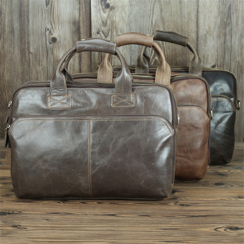Nesitu New Large Capacity A4 Brown Grey Genuine Leather 14'' Laptop Office Men Briefcase Business Messenger Bags Portfolio M7