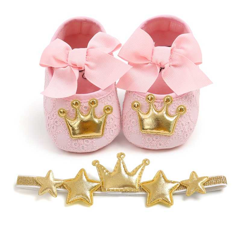 1Cute Baby Girl Shoes Set 0-18M Infants Crown Bow Princess Shoes Headwear Headband Photography Props Set
