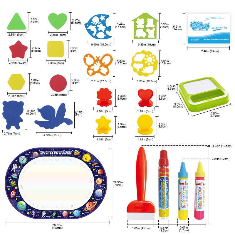 2020 yeni gelenler 100*70cm sihirli su çizim matı Doodle oyuncak boyama boyama kurulu ve kalemler ve pullar eğitim oyuncaklar çocuklar için