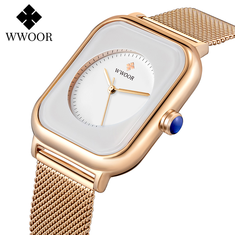 WWOOR Fashion Square Women Watches 2020 Top Brand Luxury Rose Gold Quartz Ladies Watch Womens Dress Wrist Watch relogio feminino