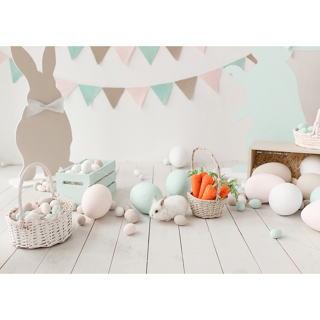 Foto backdrops ovos de páscoa coelho cesta pennant fundo personalizado para o bebê crianças festa da família photophone fotografia adereços