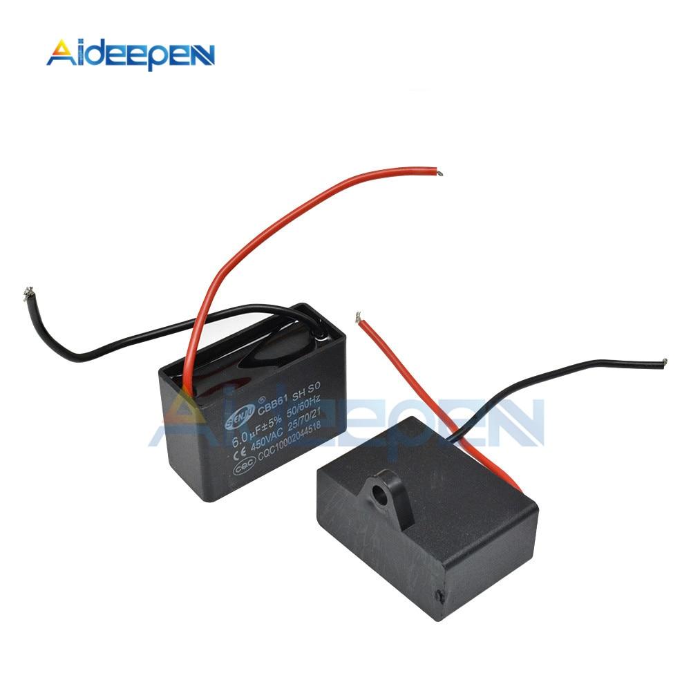CBB61 Starting Capacitance Dual Cable 450V AC CBB Motor Run Capacitor 1UF 1.2UF 1.5UF 1.8UF 2UF 3.5UF 5UF 6UF 8UF 10UF 12UF 20UF