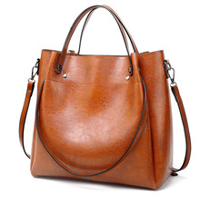 Oil Wax Leather WOMEN'S Shoulder Bag Modern And Trendy/women Shoulder Bag Tote Bag Solid Color Simple PU Handbag Large Bag trendy color block and canvas design women s tote bag