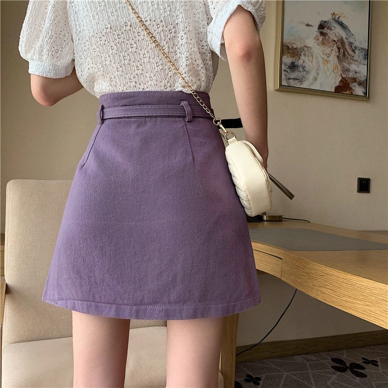 Korean fashion purple denim skirt A-lineshort skirt  Casual  Polyester  A-Line  Above Knee Mini  Empire pleated skirt