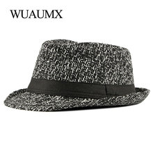 Hat Fedoras Bowler-Caps Classic Retro Winter Women Autumn Wuaumx Cotton for Male Knitted-Top
