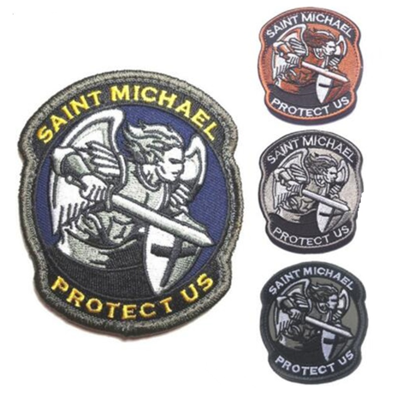 Saint Michael Protect Us Patches Military Combat Badge Embroidered Applique Army Armband Patch For Clothing Stickers Souvenirs