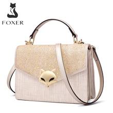 FOXER Summer Womens Split Leather Crossbody Bag Sequins Lady Handbag Female Fashion Glitte Shoudler Merssenger Bags for Girl