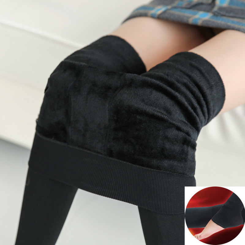 Women Plus Size Fleece Velvet Plush Legging Anti-hook Silk Warm Stretch Slim Panty Sexy Lady Winter One-piece Pants