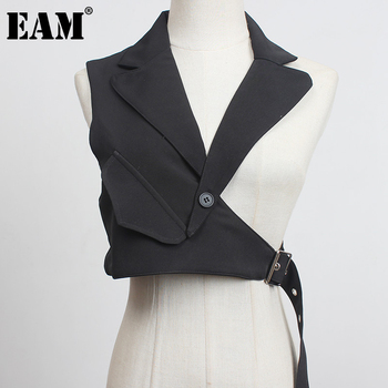 [EAM] Women Black Plaid Irregular Stitch Loose Fit Vest New V-collar Sleeveless   Fashion Tide Spring Autumn 2021 1DC530 1