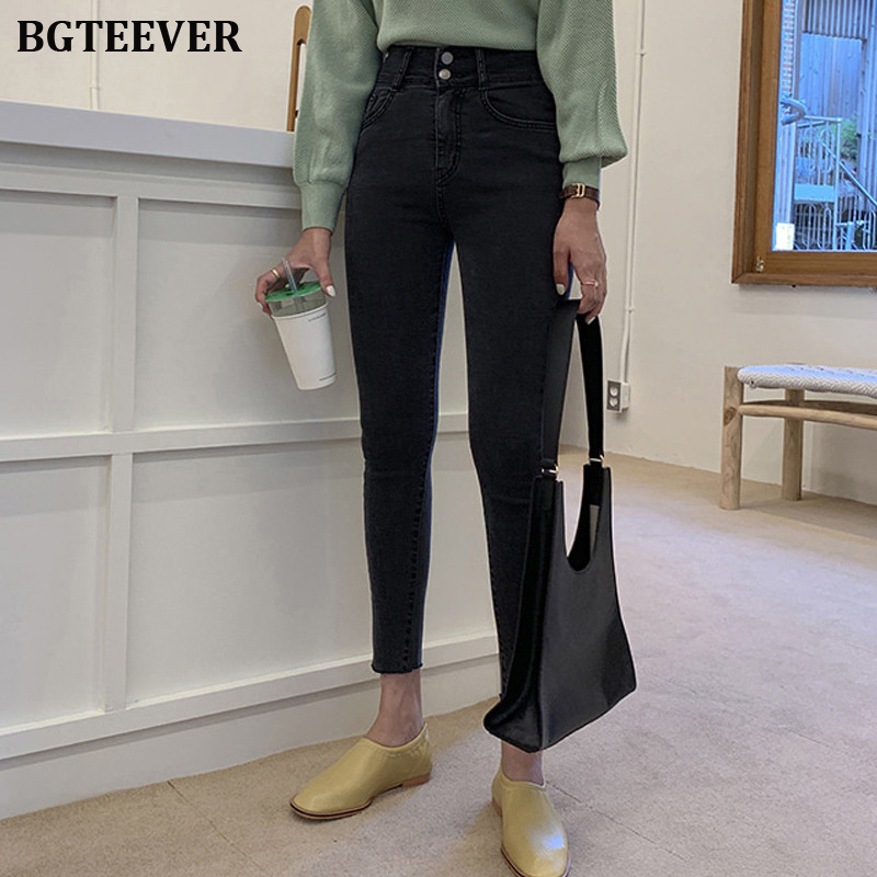 Fashion High Waist Jeans Women Button Fly Plus Size Black Jeans For Women Stretch Jeans Female Skinny Denim Pencil Pants 2019