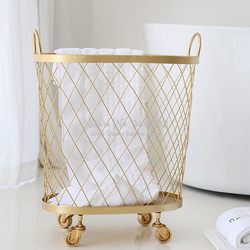 Modern Golden Fashion Metal Gold Color Dirty Clothes Storage Handle Wheel Laundry Basket Home Creative Organizer With Wheel