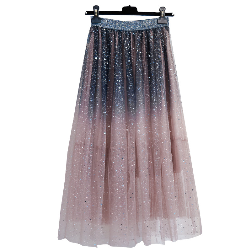 Women's Clothing Fashionable Skirts New 2020 Summer Elastic Waist Plus Size Skirts For Women 4xl Celebrity Sequin Gauze Pleated