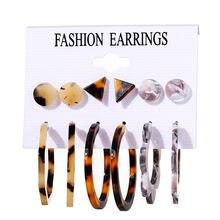Modyle 6 paires/ensemble Vintage acrylique boucle d'oreille déclaration gland boucles d'oreilles coréen balancent des boucles d'oreilles pour les femmes bijoux de mode