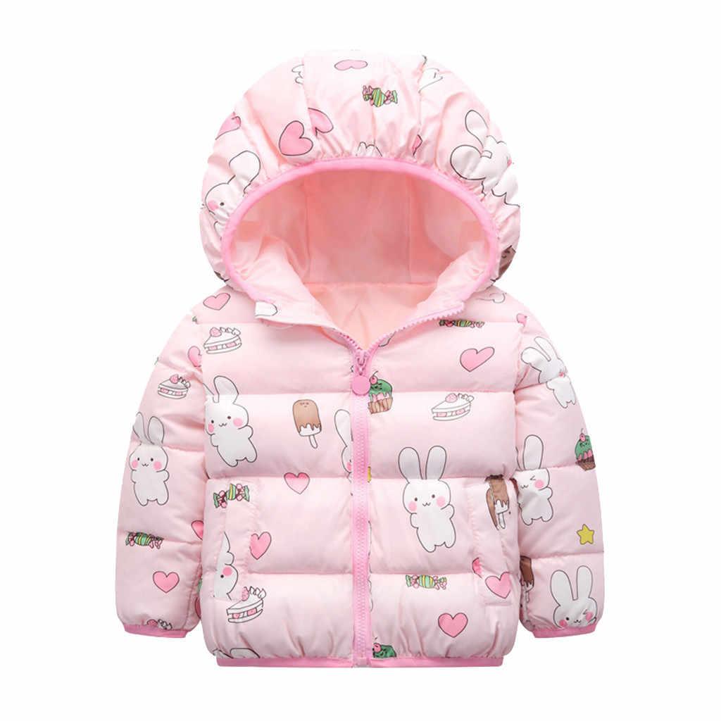 Kawaii חורף נשים פעוט תינוק בנות חורף קריקטורה Windproof מעיל סלעית חם להאריך ימים יותר מעיל פרק לבנים למטה & מעיילים