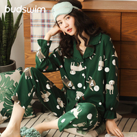 omen Long Sleeve Nightwear Autumn 100% Cotton Knitted Pajama Set Turn down Collar Leaves Printing Pajamas Loungewear Sleepwear