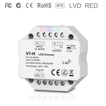 V1-H 2.4G RF single color Led dimmer Push Dim DC 12V 24V 36V 48V Step-less dimming led Controller for single color led strip v1 l dc12v 24v 1ch 15a constant voltage led dimming controller push dim dimmer for single color 5050 3528 smd led strip light