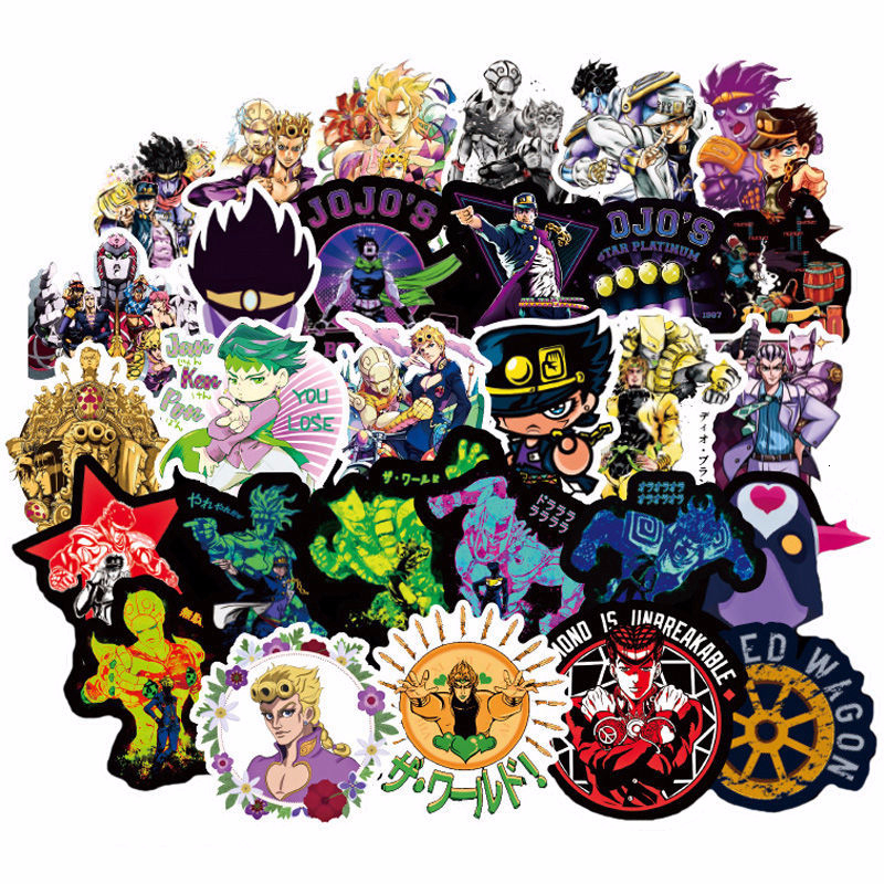 50pcs/set JoJo Bizarre Adventure Stickers Laptop PVC Waterproof Cartoon Sticker DIY Party Decoration JoJo Cosplay Accessories
