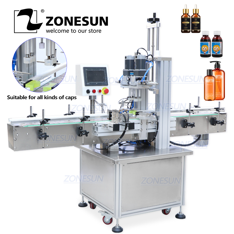 ZONESUN Pneumatic Pump Lug Ropp Screw Automatic Bottle Capping Machines Plastic Bottle Capping Machine