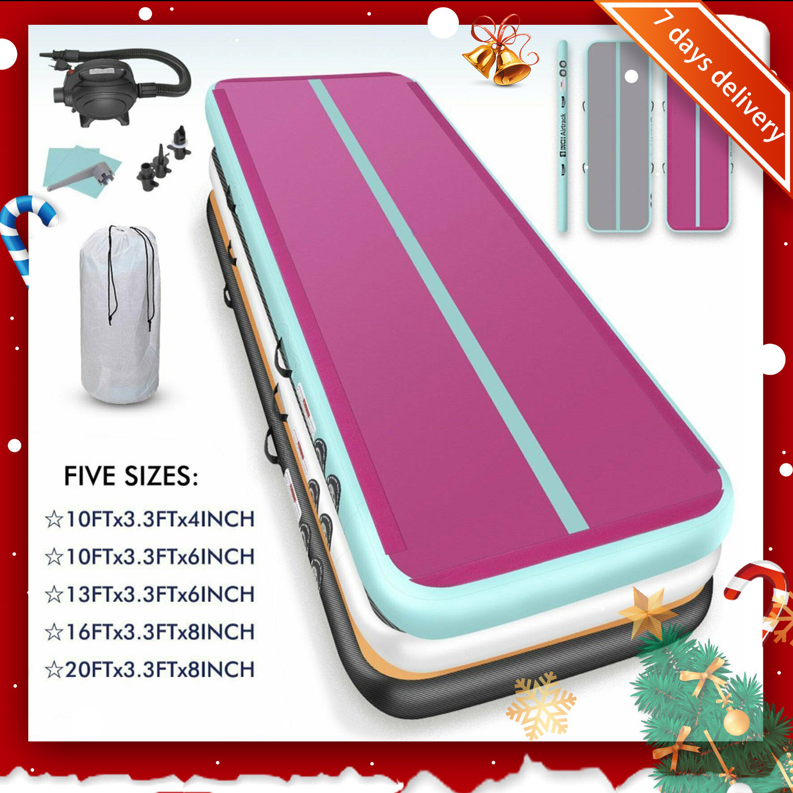 Rimdoc 6M*0.2M Gymnastics Mats Inflatable Air Track Tumbling Airtrack Yoga Mat For Water Yoga/Cheerleading/Training For Home Use