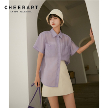 CHEERART Summer Purple Blouse Women Short Sleeve Shirt Casua