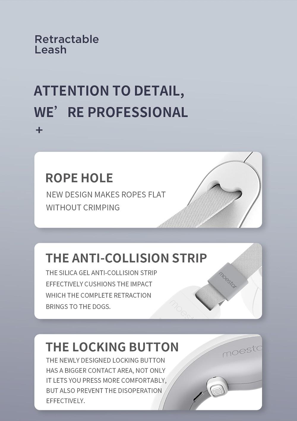 Retractable Dog Leash Ring Led lighting Flexible Pet Collar