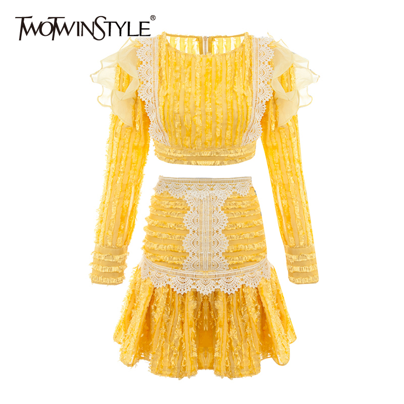 TWOTWINSTYLE Patchwork Organza Lace Women Two Piece Sets O Neck Long Sleeve Top High Waist Hit Color Skirt Ruffles Suits Female